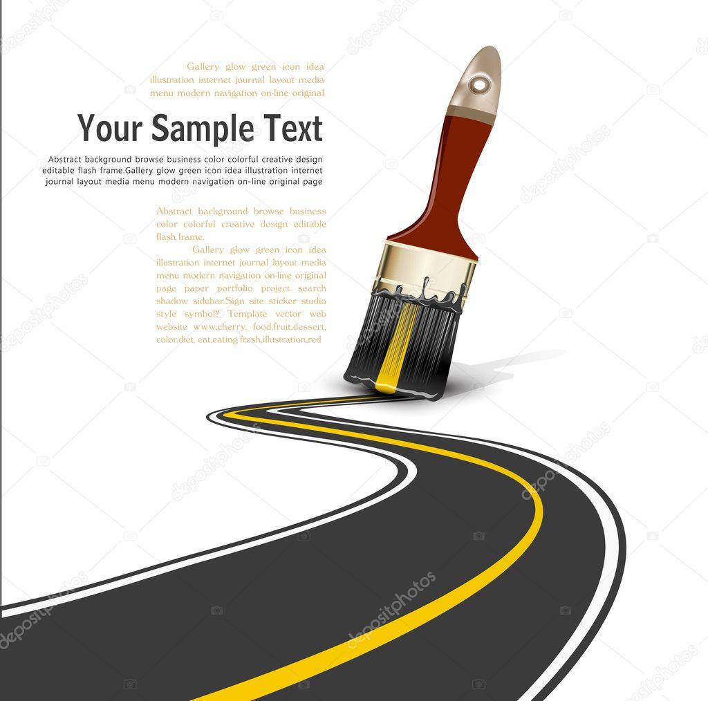 Pinceau de dessin une route pav e image vectorielle - Dessin de route ...