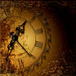 Vector grunge abstract background with antique clocks — Stok Vektör