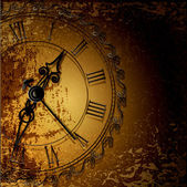 Vector grunge abstract background with antique clocks — Vettoriale Stock