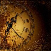 Vektör grunge arka plan ile antika saatler — Stok Vektör