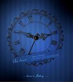 Reloj retro vector sobre un fondo azul de rayados — Vector de stock