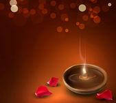 Vector fondo con una romántica para quemar velas y pétalos de rosa — Vector de stock