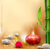 Vector romantic background with bamboo and lit candles — Stockvector