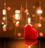 Vector romantic background with candle lit in the form of hear — ストックベクタ