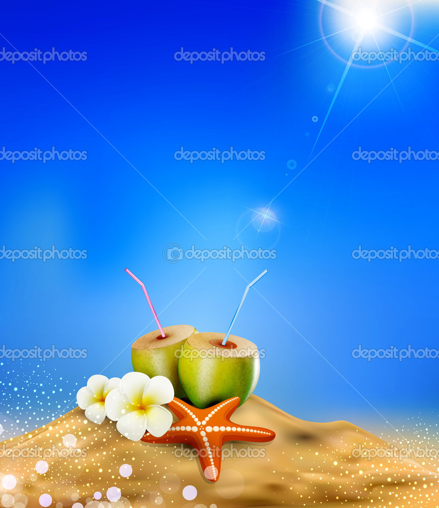 Vector illustration with coconut cocktail, sea star, and flowers in the sand. — Stock Vector #9617596