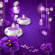 Vector background with romantic candles and violets on purple ba - Stock Vector