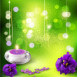 Vector background with romantic violets and candles on a green b — Stock Vector