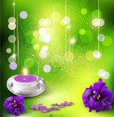 Vector fondo con violetas románticas y velas en un verde b — Vector de stock