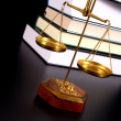 Scale of justice and books — Stock Photo #8230106