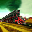 Old steam train engine - Stock Photo