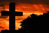 Sunset cross — Stockfoto