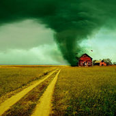 Tornado hitting a house — Stock Photo