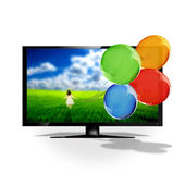 3D TV and balloons — Stock Photo