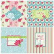 Set of Colorful Cards with Rose Elements - for birthday, wedding — ストックベクター #10144142