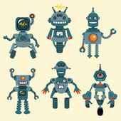 Cute little robots colección - vector - set 1 — Vector de stock