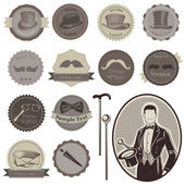 Gentlemen's Accessories Labels - vector set- High Quality — Wektor stockowy