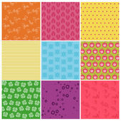 Set of Seamless Colorful backgrounds - in vector — Stock Vector