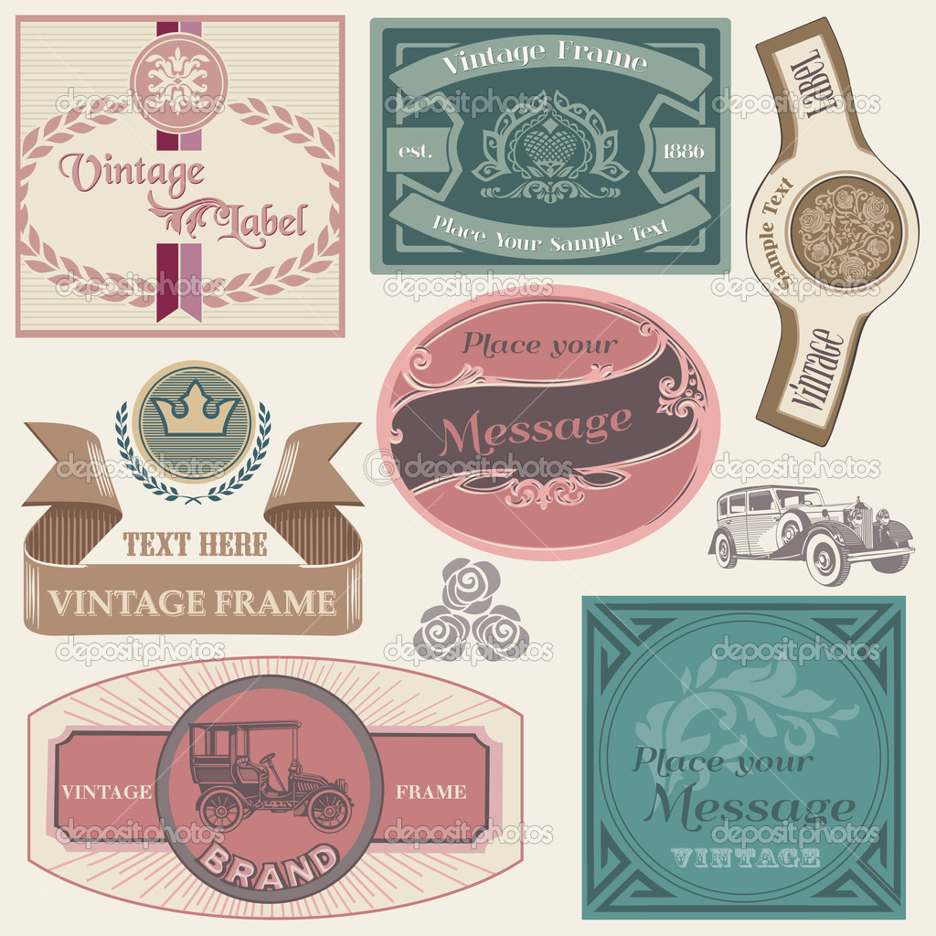 Collection of Vintage Labels in vector  Stock Vector #10144394