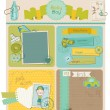 Scrapbook Design Elements - Baby Boy Cute Set - in vector — Stock Vector