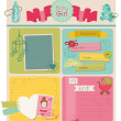 Scrapbook Design Elements - Baby Girl Cute Set - in vector - Stock Vector