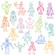 Robots Hand Drawn Doodle Set - for scrapbook or your design in v - Stock Vector