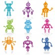 Set of Icons -Cute Little Robots Collection - in vector — Stock Vector #10262217
