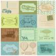 Scrapbook Paper Tags and Design Elements -Vintage Transportation — Stock Vector