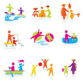 Set of Icons - Summer Time - Silhouette family. woman, man, kid, — Stock Vector