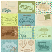 Scrapbook Paper Tags and Design Elements -Vintage Transportation — Stock Vector