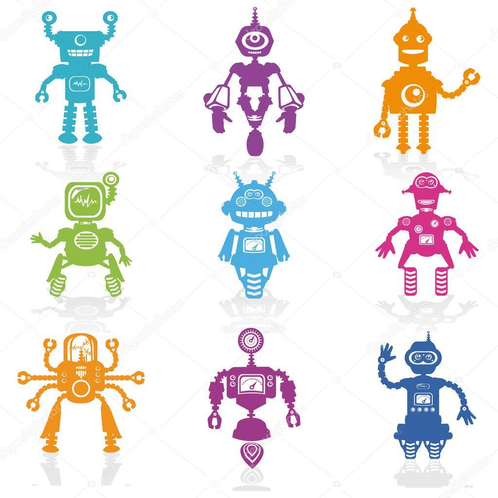 在矢量图标-可爱小机器人收集-一套