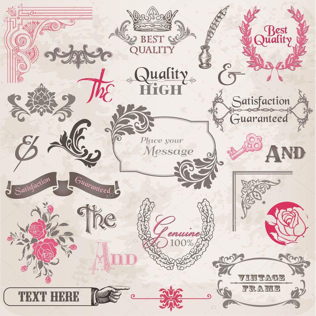 conjunto de vectores elementos de diseo caligrfico y decoracin de pgina marco de la coleccin de la vendimia con flores u vector de woodhouse