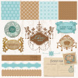 ScrapBook ontwerpelementen - vintage bruiloft set - in vector — Stockvector