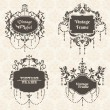 Vector Set: Vintage Frame collection with FLower elements — Stock Vector