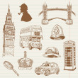 Stock Vector: Set of London doodles - for design and scrapbook - hand drawn