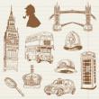 conjunto de garabatos Londres - para el diseño y el Bloc de notas - dibujados a mano — Vector de stock