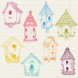 Cute Bird House Doodles - hand drawn in vector - for design - Stock Vector