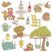 多彩夏季花园的涂鸦,-设计在向量中的剪贴簿 — 图库矢量图片