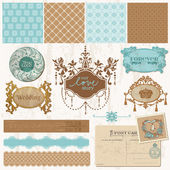 Scrapbook design elements - Vintage Wedding Set - in vector — Stock Vector
