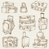 Set of Vintage Suitcases - for design and scrapbook in vector — Stock Vector