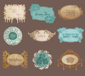 Vintage Paper Wedding Frame collection - various tags and frames — 图库矢量图片