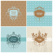 Set of Retro Cards with photo frame- for invitation, greetings — Stock Vector