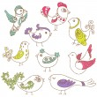 Set of different cute birds-for design and scrapbook-in vector — Stock Vector