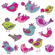 Colorful Birds Doodle Collection - hand drawn in vector - for de — Stock Vector #10503178