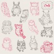 Various Owl Doodle Collection - hand drawn - in vector — Stock Vector