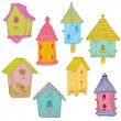 Colorful Bird Houses - hand drawn in vector - for scrapbook — Stock Vector