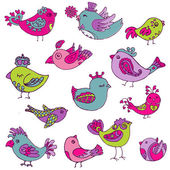 Colorful Birds Doodle Collection - hand drawn in vector - for de — Vecteur