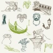威尼斯对面-手绘-条设计和向量中的剪贴簿 — 图库矢量图片