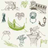 Venice Doodles - hand drawn - for design and scrapbook in vector — Vector de stock