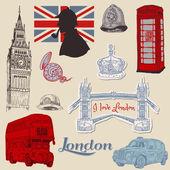 Zestaw z londynu doodle - projekt i notatnik - wektor — Wektor stockowy