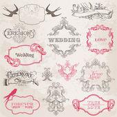 Hochzeit vintage bilderrahmen und design-elemente - in vektor — Stockvektor